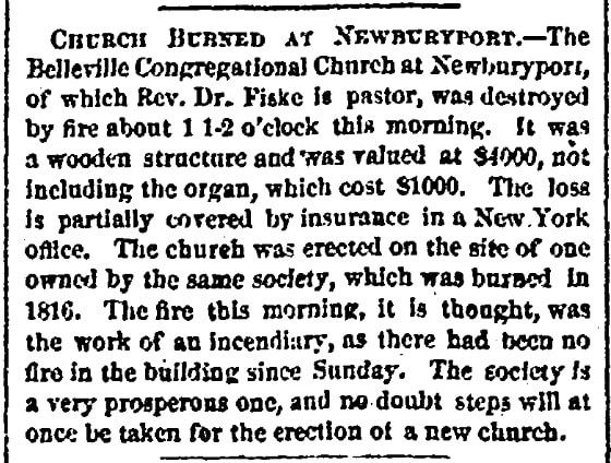 An article about a fire, American Traveller newspaper article 12 January 1867
