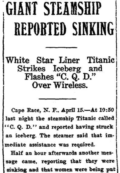 An article about the sinking of the Titanic, Arkansas Gazette newspaper article 15 April 1912