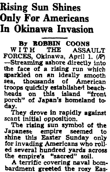 An article about the Battle of Okinawa, Augusta Chronicle newspaper article 2 April 1945