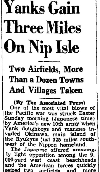 An article about the beginning of the Battle of Okinawa, Augusta Chronicle newspaper article 2 April 1945
