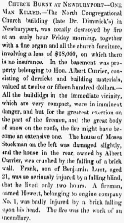An article about a fire, Barre Gazette newspaper article 29 March 1861