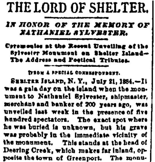 An article about Nathaniel Sylvester, Boston Daily Advertiser newspaper article 22 July 1884