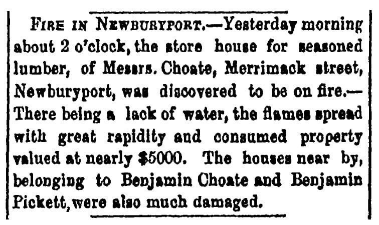 An article about a fire, Boston Daily Bee newspaper article 18 February 1853