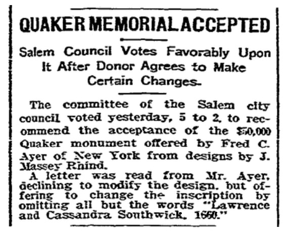 An article about a proposed monument to 17th century persecuted Quakers, Boston Herald newspaper article 28 June 1904