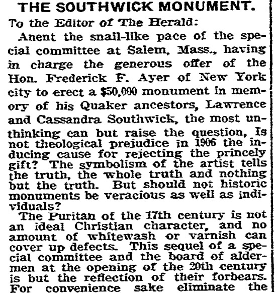An article about a proposed monument to 17th century persecuted Quakers, Boston Herald newspaper article 31 December 1906