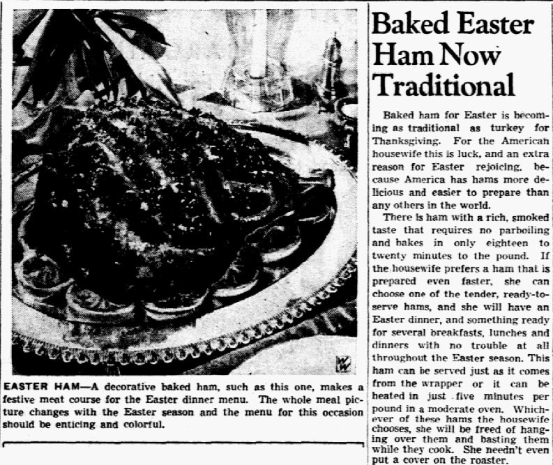 An article about Easter ham, Dallas Morning News newspaper article 3 April 1942