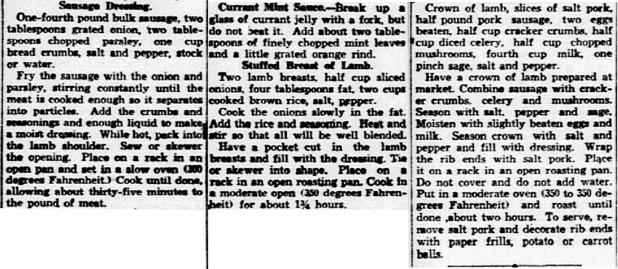 Lamb recipes, Dallas Morning News newspaper article 19 April 1935