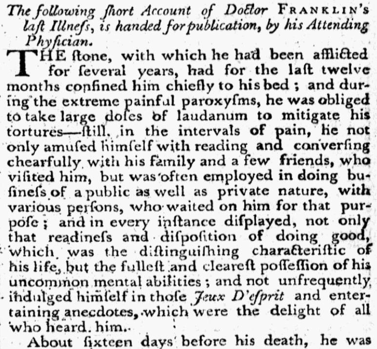 An article about Benjamin Franklin, Federal Gazette newspaper article 20 April 1790