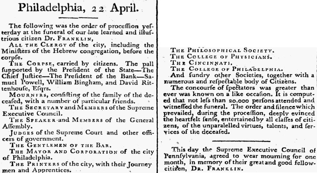 An article about Benjamin Franklin, Federal Gazette newspaper article 22 April 1790