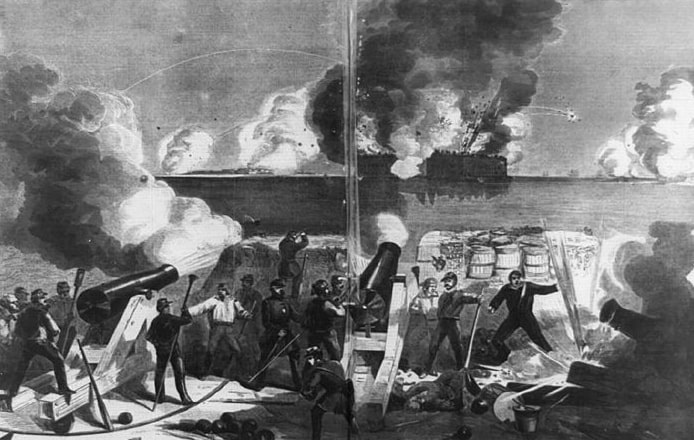 """Illustration: """"Bombardment of Fort Sumter by the batteries of the Confederate states,"""" 1861"""