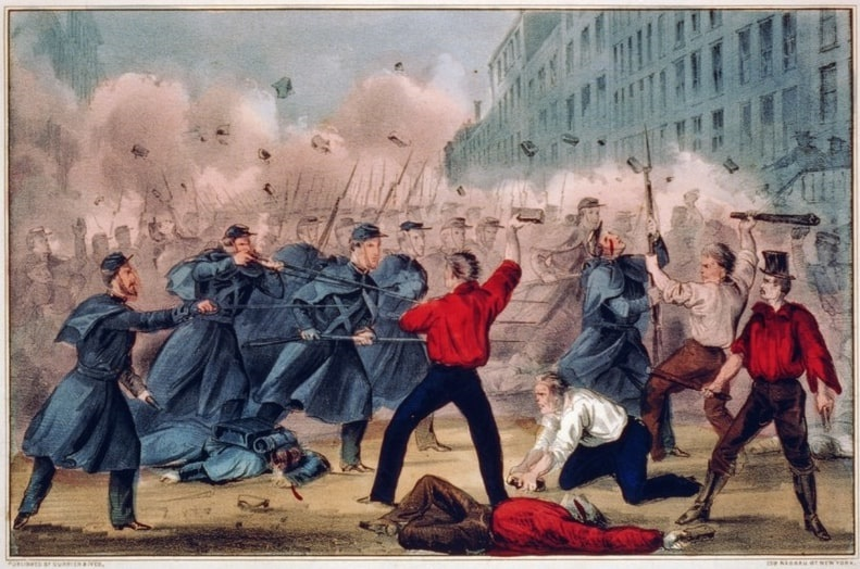 "Illustration: ""The Lexington of 1861. Massachusetts Volunteers fighting in streets of Baltimore on march to defense of the U.S. Capitol,"" by Currier & Ives, c. 1861."