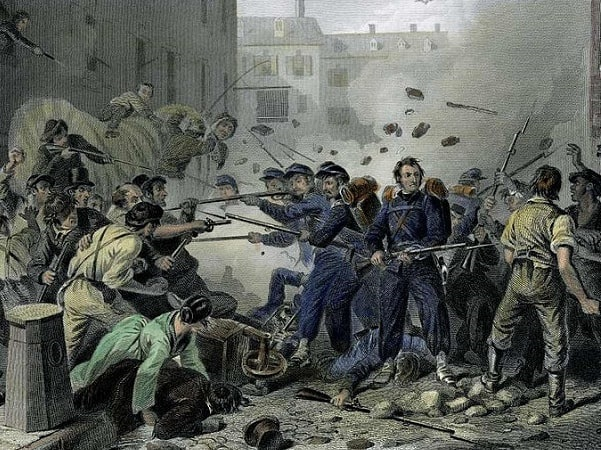 "Illustration: ""Massachusetts Militia Passing through Baltimore"" (Baltimore Riot of 1861), engraving of F.F. Walker, 1861. Credit: Wikimedia Commons."