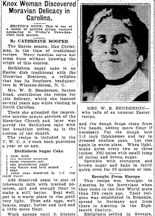 A cake recipe, Knoxville News-Sentinel newspaper article 12 April 1935