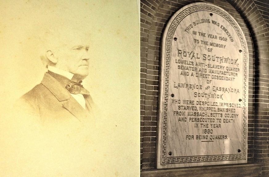 Photos: Frederick Fanning Ayer's maternal grandfather, Royal Southwick; and the plaque Ayer placed on Southwick Hall, University of Massachusetts Lowell, in his honor