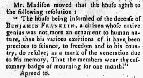 An article about Benjamin Franklin, New-York Daily Gazette newspaper article 23 April 1790