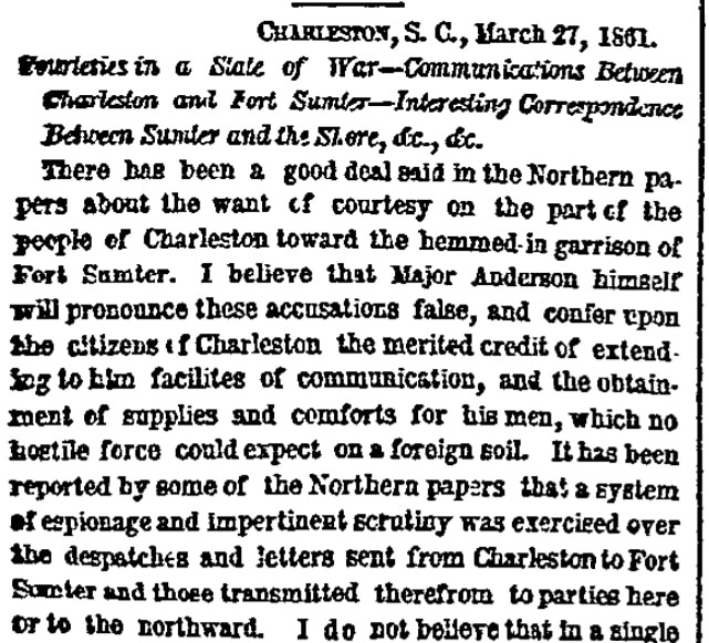 An article about tensions before the Battle of Fort Sumter, New York Herald newspaper article 6 April 1861