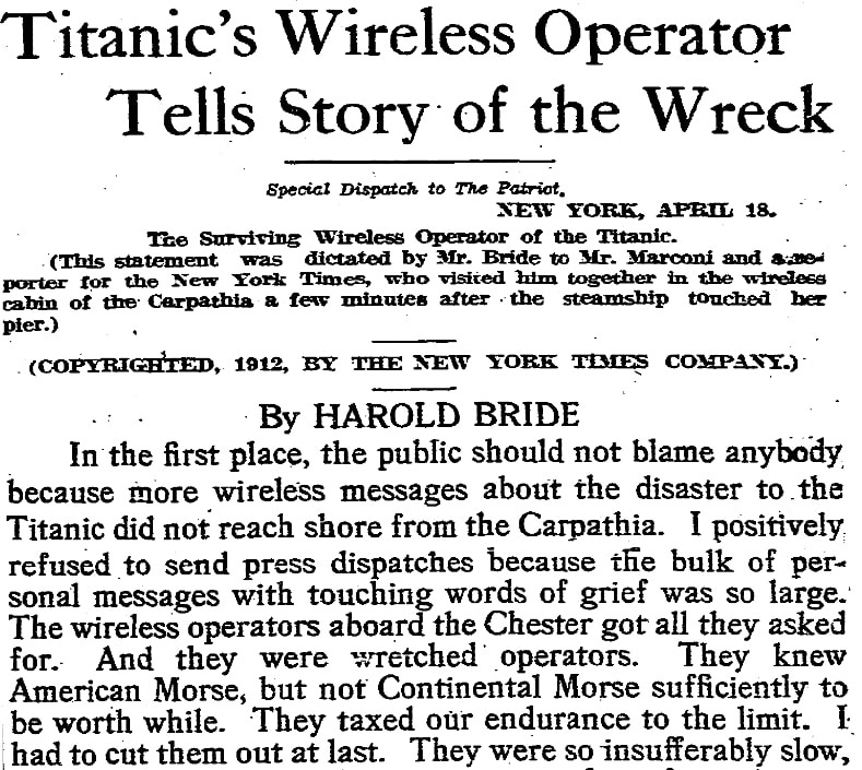 An article about the sinking of the Titanic, Patriot newspaper article 19 April 1912