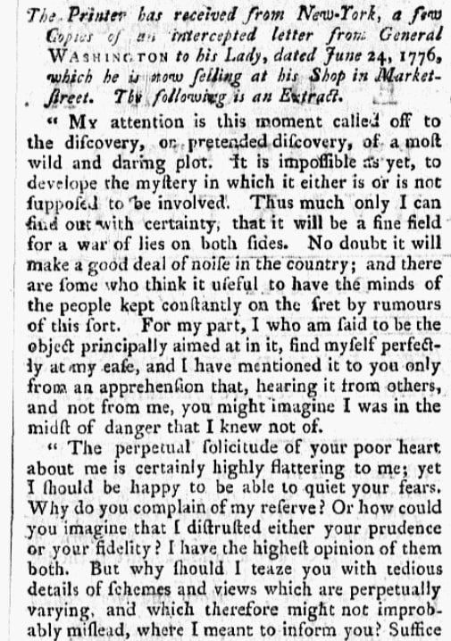 An article about George Washington, Pennsylvania Ledger newspaper article 24 December 1777