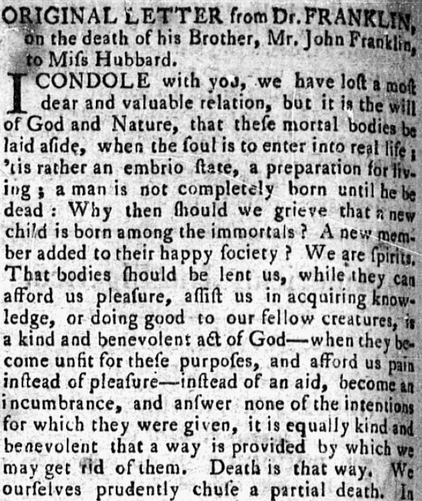 An article about Benjamin Franklin, Pennsylvania Mercury and Universal Advertiser newspaper article 22 April 1790