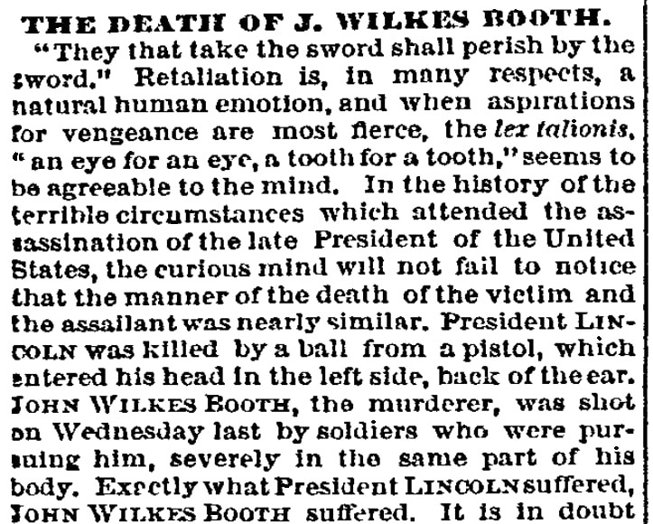 An editorial about John Wilkes Booth, Philadephia Inquirer newspaper article 28 April 1865