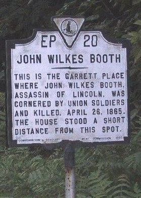 Photo: marker at site of John Wilkes Booth's capture in 1865, on U.S. Rt. 301 near Port Royal, Virginia
