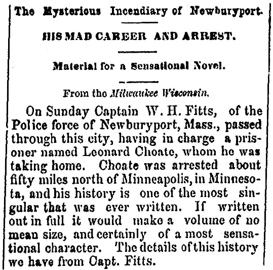 An article about Leonard Choate's arrest, Schenectady Evening Star newspaper article 4 March 1869