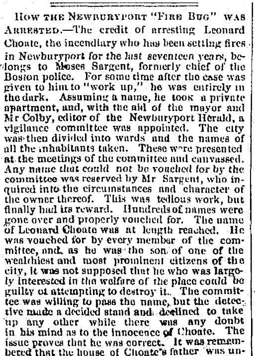 An article about Leonard Choate's arrest, Springfield Republican newspaper article 27 February 1869