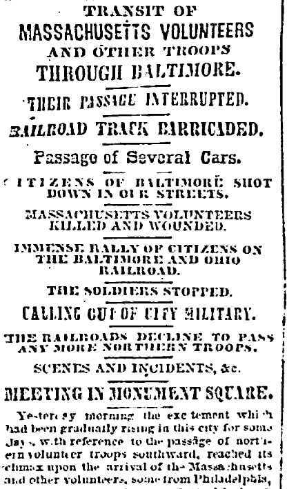 An article about the Baltimore Riot, Sun newspaper article 20 April 1861