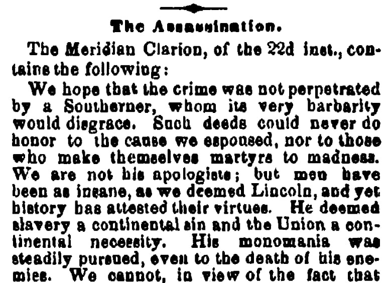 An editorial about John Wilkes Booth, Times-Picayune newspaper article 28 April 1865