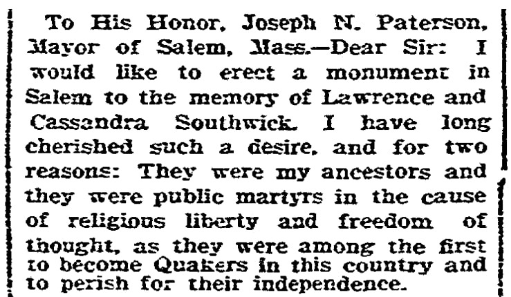 A letter supporting a monument to persecuted Quakers, Boston Herald newspaper article 29 April 1903