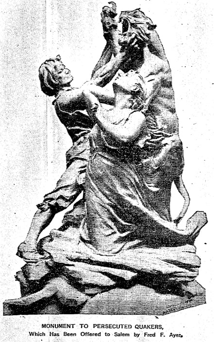 Proposed monument to persecuted Quakers, Boston Herald newspaper article 29 April 1903