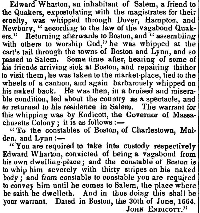 An article about Edward Wharton, Boston Investigator newspaper article 17 November 1852