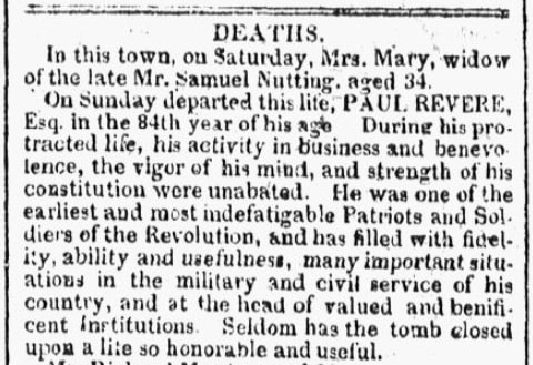 An obituary for Paul Revere, Columbian Centinel newspaper article 18 May 1818