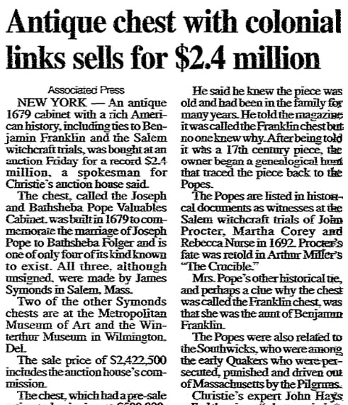 An article about an antique chest, Daily Advocate newspaper article 23 January 2000