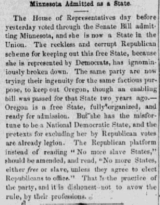 An article about Minnesota statehood, Daily Ohio Statesman newspaper article 13 May 1858