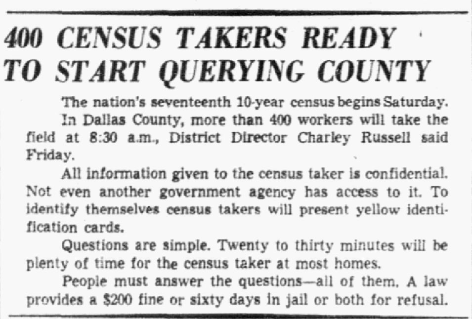 An article about the 1950 U.S. Census, Dallas Morning News newspaper article 1 April 1950