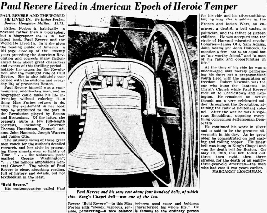 An article about Paul Revere, Dallas Morning News newspaper article 26 July 1942