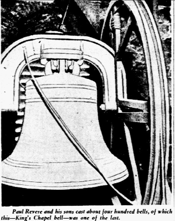 Photo: a bell cast by Paul Revere