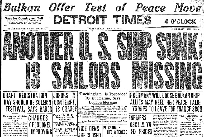 An article about WWI, Detroit Times newspaper article 2 May 1917