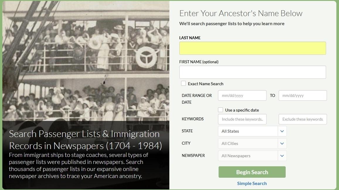 Screenshot of GenealogyBank's passenger lists search form