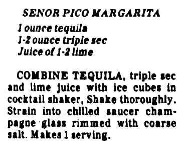 A margarita recipe, Huntsville Times newspaper article 21 April 1982