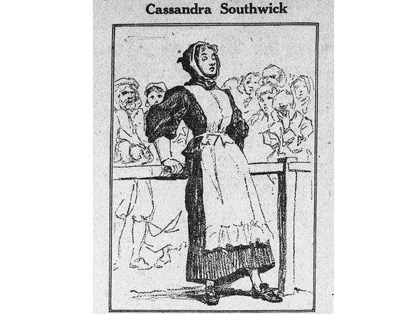 "Illustration: ""Cassandra Southwick in court before the magistrates,"" from the Boston Globe, 23 October 1923."