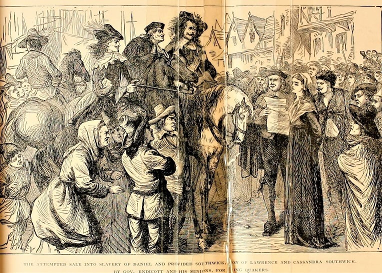 """Illustration: """"The attempted sale into slavery of Daniel and Provided Southwick, son and daughter of Lawrence and Cassandra Southwick, by Gov. Endicott and his minions, for being Quakers."""""""