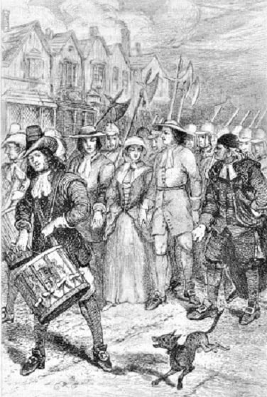 """Illustration: """"Quakers Marmaduke Stephenson, Mary Dyer, and William Robinson walking to the gallows. Compare the serene faces of the Quakers with the scowling Puritans in this engraving by William Bell Scott."""""""