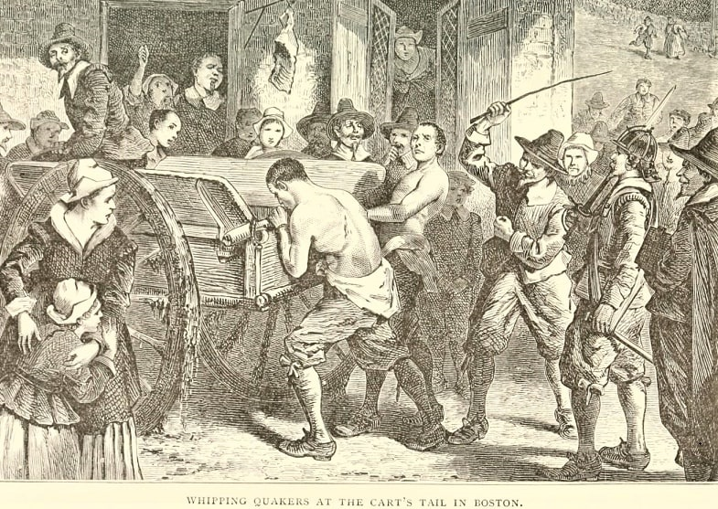 """Illustration: """"Whipping Quakers at the Cart's Tail in Boston."""""""