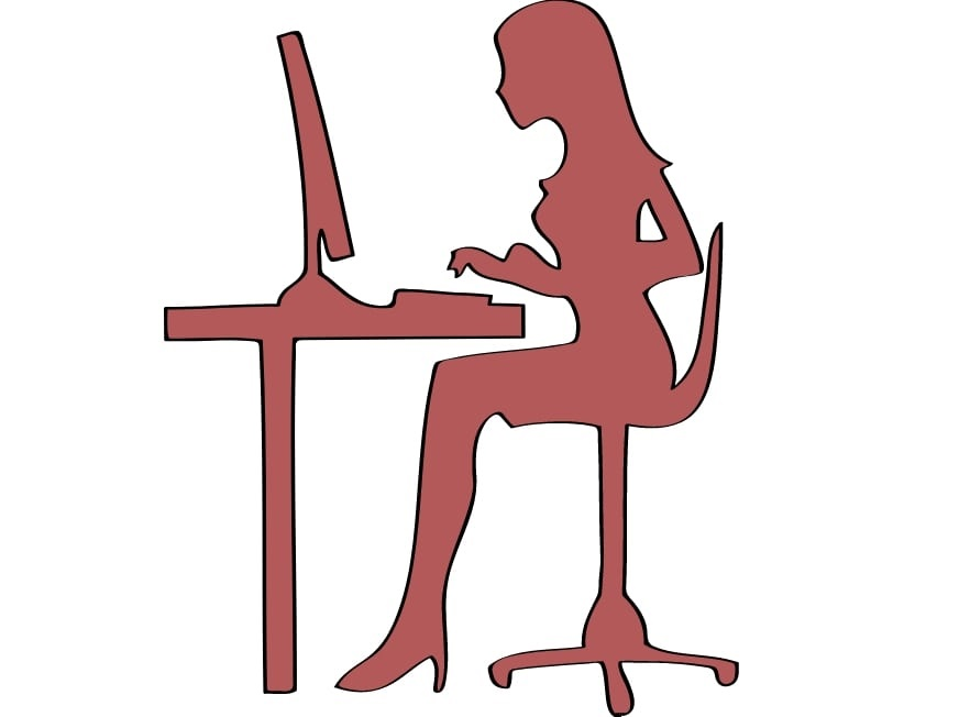 Illustration: woman using a computer