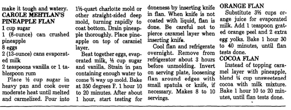 A recipe for flan, Las Vegas Review-Journal newspaper article 24 February 1982