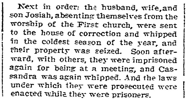 An article about the persecuted Southwick family, Quakers in 17th century America, Morning Star newspaper article 17 April 1910