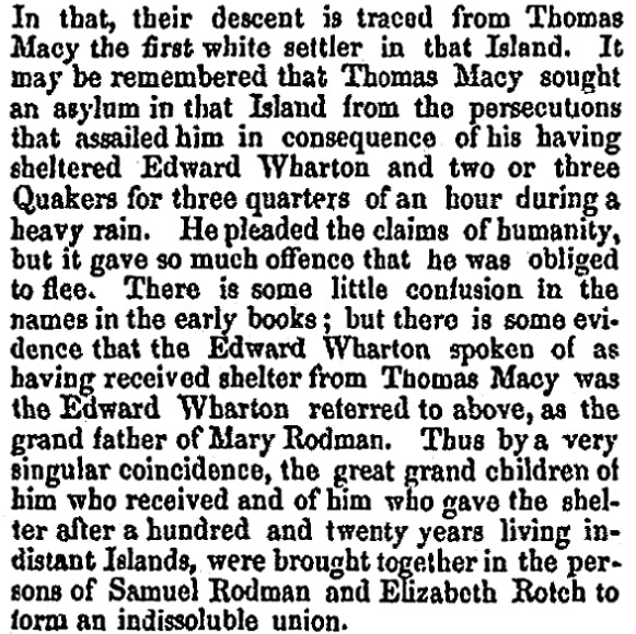 An article about Thomas Macy, New-Bedford Mercury newspaper article 27 February 1857
