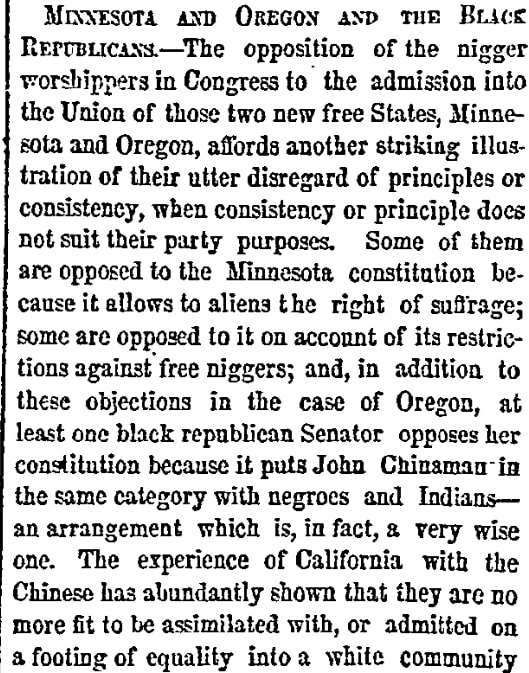 An article about Minnesota statehood, New York Herald newspaper article 11 May 1858